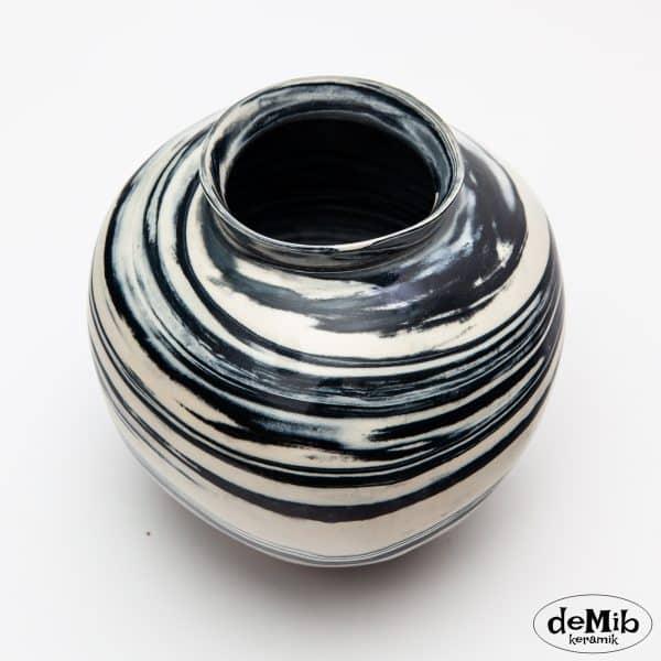 Agateware Vase i To-farvet Porcelæn